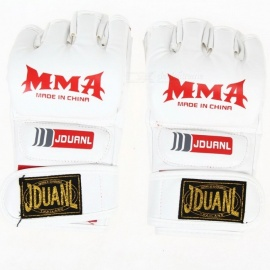 PU Leather Half Finger Fighting MMA Kick Boxing Gloves, Muay Thai Boxing Training Fitness Boxer Fight Equipment for Adults White