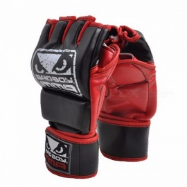 PU Leather Mateial MMA Half Finger Fighting Boxing Gloves, Muay Thai Training Competition Breathable Fitness Gloves for Adults L Plam width 8to10cm/Black