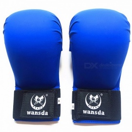 Portable Universal 1 Pair New PU Leather Fighting Fitness Karate Boxing Half Finger Gloves for Women Men Children S/Red