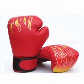 Breathable PU Leather MMA Flame Mesh Palm Boxing Gloves, Professional Sanda Boxing Training Glove for Children Children/Red