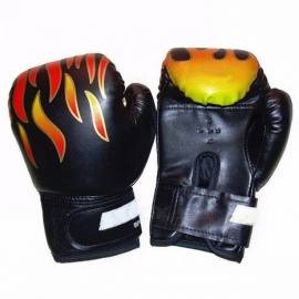 Professional 1 Pair Flame Boxing Gloves Punch for Kids Child Boys Beginner, Sanda Sparring Training Mitts Protector Gloves Black