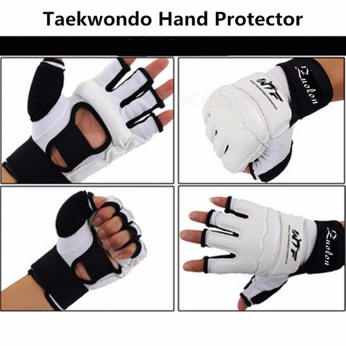 Kids Adult Half Finger Fight Boxing Gloves Mitts, Sanda Karate Sandbag Protector for MMA Muay Thai Kick Boxing Training M(US Size)/WhiteDescription<br><br><br><br><br>is_customized: Yes<br><br><br>Weight: 226g (48-67 kg)<br><br><br><br><br>Brand Name: ZuoLon<br><br><br>Applicable People: Child<br><br><br><br><br><br><br><br><br><br><br><br><br>Taekwondo Glove Fighting Hand Protector WTF Approved Martial Arts Sports Hand Guard Boxing Gloves Hand Protective Tool<br><br><br><br> <br><br><br><br>&amp;nbsp;Description <br><br><br>1.100% brand new and high quality <br><br><br>2.Made of PU, bright color <br><br><br>3.The use of high-quality leather production, palm air permeability hollow design <br><br><br>4.Keep hand movement of the hand dry, thickened EVA protection <br><br>5.The outer side of the finger with a thick protective patch to prevent injuries when sports<br>