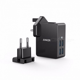 Anker PowerPort 4 Lite 27W 4-Port USB Wall Charger with Interchangeable UK and EU Plug for IPHONE Galaxy IPAD HTC Huawei LG etc EU and UK Plug