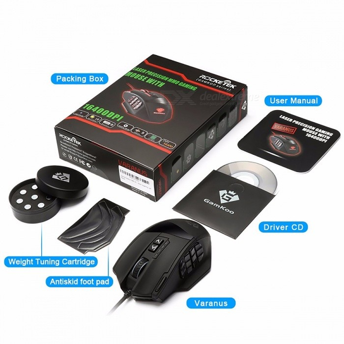 Rocketek Gaming Series 50 to 16400 DPI High Precision Laser 19-Button MMO  Gaming Mouse for PC, Compatible with Windows 10 black