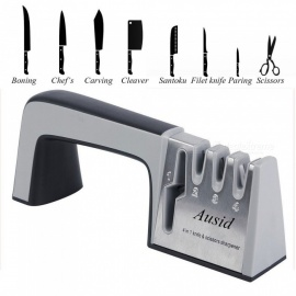 4-in-1 Knife Sharpener Diamond Coated & Fine Ceramic Rod Knife Shears and Scissors Sharpening System Stainless Steel Blades Black