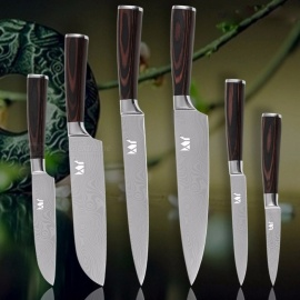 XYJ Kitchen Chef Slicing Knife Santoku, Utility Pariing Damascus Veins Stainless Steel Knives with Wooden Handle 6 Pcs/Lot