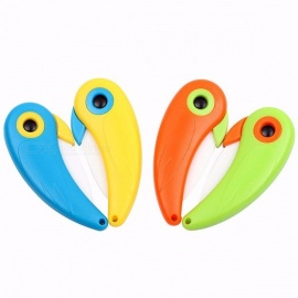 Kitchen Tool Mini Bird Style Ceramic Knife Pocket Folding Bird Knife Fruit Paring Knife Ceramic with Colourful ABS Handle Green