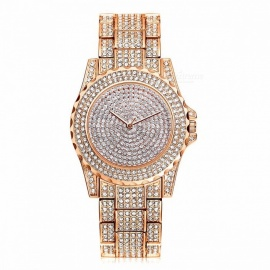 Lvpai Luxury Rhinestone Ceramic Crystal Lady Dress Quartz Watch, Fashion Glitter Magic Women's Wrist Watch Gold