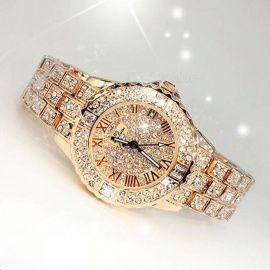 Chic Fashion Rhinestone Crystal Dial Women Lady Dress Watch, Diamond Luxury Bracelet Quartz Wristwatch rose gold