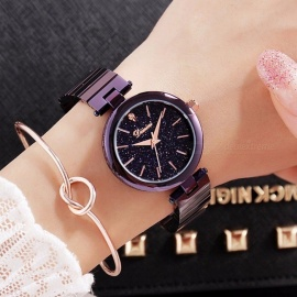 Women's Luxury Crystal Watch Women Wrist Watch Fashionable Gift Rose Gold Watches Female Purple Wristwatches rose gold black