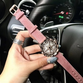 Top Quality Luxury Crystal Rhinestone Dial Women Lady Dress Watch, Fashion Rotation Wristwatch with Genuine Leather Strap Band Pink