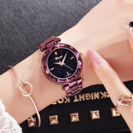 Top Quality Luxury Crystal Round Dial Women Lady Dress Watch, Fashion Quartz Wristwatch with Stainless Steel Band purple