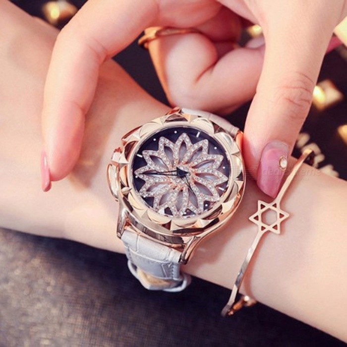 Crystal Rhinestone Dial Women Lady Rotation Dress Watch with Real Leather Band, Big Round Dial Bracelet Wristwatch
