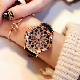 Crystal Rhinestone Dial Women Lady Rotation Dress Watch with Real Leather Band, Big Round Dial Bracelet Wristwatch Black