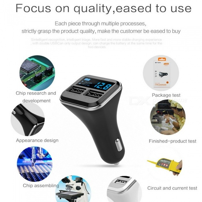 QCY C1 Intelligent Output Dual USB Car Charger 5V 4.8A Quick Charge Phone Car Charger Adapter for IPHONE, Samsung, Huawei