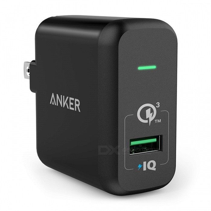 Quick Charge 3.0, Anker 18W USB Wall Charger US/EU Plug (Quick Charge 2.0 Compatible) PowerPort+ 1 for LG HTC Nexus iPhone iPad USBatteries &amp; Chargers<br>Description <br><br><br><br><br>Compatible Brand: SONY,Blackberry,LG,Meizu,Nokia,HTC,Lenovo,Samsung,Motorola,ZTE,Universal,xiaomi,Huawei,Apple,Other <br><br><br>USB Ports: 1 <br><br><br><br><br>Quality Certification: PSE,FCC,CE,RoHS <br><br><br>Type: Travel <br><br><br><br><br>Brand Name: Anker <br><br><br>Output Interface: USB <br><br><br><br><br>Support Quick Charge Technology: Qualcomm Quick Charge 3.0 <br><br><br>Power Source: A.C. Source <br><br><br><br><br>Output: 5V/2.4A <br><br><br><br><br><br><br><br><br><br><br><br><br><br><br><br><br><br>PowerPort+ 1 with Quick Charge 3.0 <br><br><br>The Premium USB Wall Charger <br><br><br>  <br><br><br>From ANKER, America's Leading USB Charging Brand <br><br><br>- Faster and safer charging with our advanced technology <br><br><br>- 10 million+ happy users and counting <br><br><br>  <br><br><br>Qualcomm Quick Charge 3.0 <br><br><br>Guarantees<br> the fastest possible charge to any compatible phone or tablet, charging<br> a phone up to 80% in 35 minutes—up to 4x faster than standard chargers. <br><br><br>  <br><br><br>Unrivaled USB Efficiency <br><br><br>Qualcomm<br> Quick Charge 3.0 is 38% more efficient than the previous version, Quick<br> Charge 2.0. That means less time waiting around and more time for you. <br><br><br>  <br><br><br>Travel Ready <br><br><br>A foldable plug, compact size and international voltage compatibility (AC 100-240V) make it the ideal travel companion. <br><br><br>  <br><br><br>Quick Charge Devices Include: <br><br><br>Galaxy S7/S6/Edge/Edge Plus <br><br><br>Galaxy Note 4/5/Edge <br><br><br>LG G4 <br><br><br>LG G Flex2 <br><br><br>Nexus 6 <br><br><br>HTC One A9/M9 <br><br><br>Droid Turbo <br><br><br>Xperia Z3/Z3 Compact/Z3 Tablet Compact/Z4 Tablet <br><br><br>and many more (consult your device's technical specs to confirm compatibility) <br