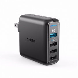 Anker hurtigladning 3.0 43.5W 4-port USB-vegglader, Powerport Speed ​​4 for Galaxy S7 / S6 / Kant / Kant +, notat 4/5, LG G4 / G5, HTC etc US