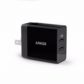 Anker 24W 2 puertos UK / EU enchufe cargador de pared USB con tecnología poweriq para iphone, ipad, samsung, nexus, HTC, laptops y más