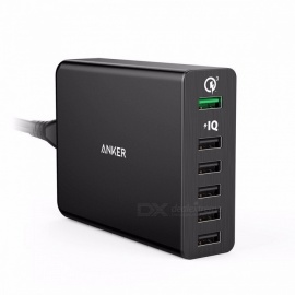 [charge rapide 3.0] chargeur USB 6 ports anker 60W (charge rapide 2.0 compatible) powerport + 6 avec poweriq pour iphone ipad galaxy eu / black