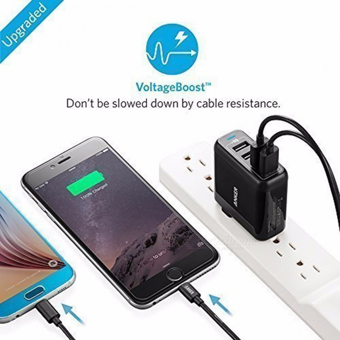 Anker 40W 4-Port USB Wall Charger, PowerPort 4 for iPhone 7 / 6s / Plus iPad Pro / Air 2 / mini Galaxy S7 / S6 / Edge / Plus etc