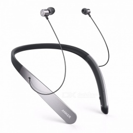 anker soundbuds cuffie wireless con archetto da collo leggero, auricolare bluetooth professionale, auricolari IPX5 resistenti all'acqua neri
