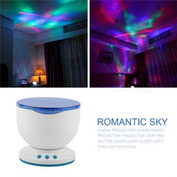 1 Pc Led Night Light Projector Ocean Daren Waves Projector Projection Lamp With Speaker Ocean Waves master Brand New blueDescription <br><br><br><br><br>Style: Novelty <br><br><br>Power Source: DC <br><br><br><br><br>Is Batteries Required: No <br><br><br>Certification: CE,CCC <br><br><br><br><br>Usage: Holiday <br><br><br>Brand Name: ICOCO <br><br><br><br><br>Is Batteries Included: No <br><br><br>Body Material: ABS <br><br><br><br><br>Light Source: LED Bulbs <br><br><br>Is Bulbs Included: Yes <br><br><br><br><br>Battery Type: AA <br><br><br>Voltage: Other <br><br><br><br><br><br><br><br><br><br><br><br><br><br>Features: <br><br><br>100%<br> Brand New!! Daren is a wave of new mini-wave projection lamps, modeling<br> simple, easy to use; Apply to bathrooms, the living room, bedroom or <br>any space, reproduce the sparkling sea at any time a glorious natural <br>beauty, allows you to feel as immersed in the deep sea calm and the sea <br>embrace peace, creating a romantic, leisure and cozy atmosphere of the <br>space to achieve physical and mental relaxation effect. It is also a <br>small stereo, allows you to enjoy the beautiful environment, but also <br>can enjoy the wonderful music This product is the use of 4 AA batterier,<br> also supports external USB and 4.5V DC plug, automatic sleep function, <br>an hour later automatically closed ( you can also press the key to close<br> it or to open), built-in Mini speaker can be as for ipod, for mp3 <br>speakers, features intimate and easy to use. Projected swinging light <br>like a ocean surface makes you relax at Bath Room or Living room. <br><br><br>  <br><br><br>Specifications: <br><br><br>Place of Origin:Guangdong China (Mainland) <br><br><br>Material:ABS <br><br><br>Power Source:Electric <br><br><br>Light Source:LED <br><br><br>Style:Toy Projector <br><br><br>Use:Home,Private place <br><br><br>Color of body:white with blue <br><br><br>Color of light:blue <br><br><br>Size:135*122mm <br><br><br>Eco-Friendly:Yes <br><br><