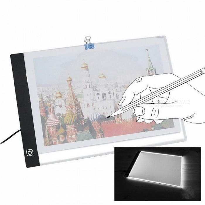USB A4 LED Ultra Thin Art Facsimile Drawing Board Light Box Tracing Table Pad Artist Copy Desk Night Lighting Draw Stencil  White LightDescription<br><br><br><br><br>Style: Novelty <br><br><br>Is Batteries Included: No <br><br><br><br><br>Battery Type: A <br><br><br>Is Batteries Required: No <br><br><br><br><br>Body Material: ABS <br><br><br>Light Source: LED Bulbs <br><br><br><br><br>Brand Name: HHYYMM <br><br><br>Is Bulbs Included: Yes <br><br><br><br><br>Power Source: AC <br><br><br>Usage: Emergency <br><br><br><br><br>Certification: CCC <br><br><br>Voltage: Other <br><br><br><br><br><br><br><br><br><br><br><br><br><br>Features:<br>Ideal for stenciling, 2D animation, calligraphy, embossing, scrapbooking, tattoo transferring, sketching, drawing, etc.<br>Eyesight-protected technology, flicker-free super bright eco-friendly LED with reference grid.<br>With a compact and elegant design, LED light pad is only 0.47mm thick and energy efficient.<br>We use special acrylic surface, it feels like a glass panel but much stronger than glass.<br>Convenient for use on a desk or in your lap, easily assembled, carried, and stowed away.<br><br>Specifications:<br>Material: Acrylic<br>Power: 5V-12V / DC<br>Light source: LED<br>Power consumption: 2.2W<br>Dimensions: 338 x 238 x 4mm(L x W x H)<br><br>Kindly note:<br>Handle with care, do not use sharp metal objects, protect working surface from scratches.<br>Only use on a safe stable working place.<br>After use always store in a safe dry place.<br><br>Package includes:<br>1 x LED drawing board<br>1 x USB cable<br>1 x Clip<br>