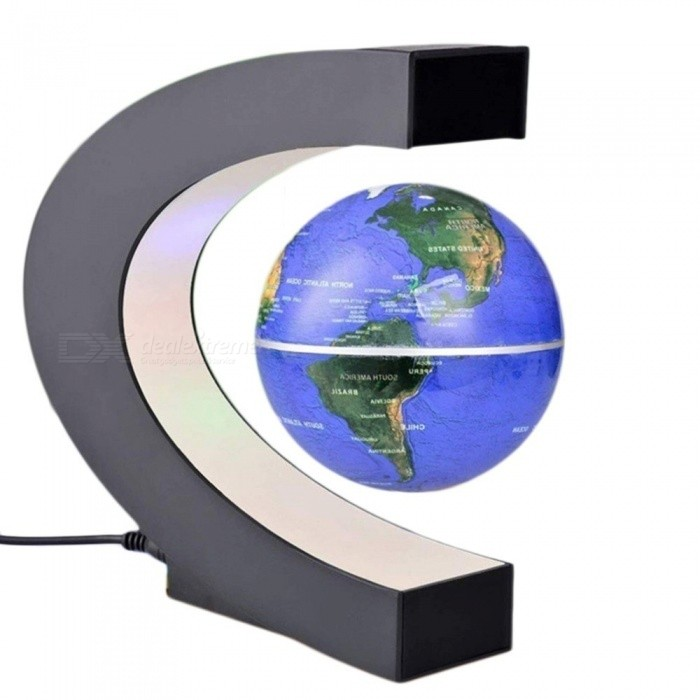 Electronic Magnetic Levitation Floating Globe Antigravity LED Light Gift Home Decor 2 Colors Russian Warehouse Free Shipping GoldDescription<br><br><br><br><br>Style: Novelty <br><br><br>Is Batteries Required: No <br><br><br><br><br>Certification: CE,CCC <br><br><br>Power Source: AC <br><br><br><br><br>Usage: Holiday <br><br><br>Brand Name: ICOCO <br><br><br><br><br>Is Batteries Included: No <br><br><br>Body Material: ABS <br><br><br><br><br>Light Source: LED Bulbs <br><br><br>Is Bulbs Included: Yes <br><br><br><br><br>Voltage: Other <br><br><br><br><br><br><br><br><br><br><br><br><br><br><br>Features: <br><br><br>100% Brand new and high quality! <br><br><br>Comes with a LED light that makes it look very cool when turned on in the dark. <br><br><br>Operated by an electronically controlled magnetic system. <br><br><br>The magnetic above the gadget contains an electro magnet and a magnetic field sensor. <br><br><br>Once you get the gadget levitating, just give it a little spin with your <br><br><br>and watch it rotate for an extended period of time. <br><br><br>This cool gadget makes a great display unit for your retail shop, business and home. <br><br><br>Perfect Gift for any home or office. <br><br><br>This is an awesome high tech gadget that people of all ages will enjoy. <br><br><br><br><br>Specifications: <br><br><br>Input Voltage: 110 to 240V AC US plug <br><br><br>Output voltage: 12V 250mA <br><br><br>Size: 18 x 8.5 x 17cm <br><br><br>Material: ABS plastic, rubber oil coated and metal <br><br><br>Color: Gold, Blue <br><br><br><br><br>Package includes: <br><br><br>1 x Globe <br><br><br>1 x C shape base <br><br><br>1 x Wall adapter<br>