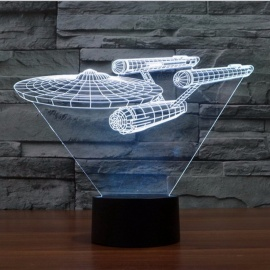 star trek USS enterprise 3D LED nattlys 7 farger touch bryterbord bordlampe for barn baby soverom gave P22 hvitt lys