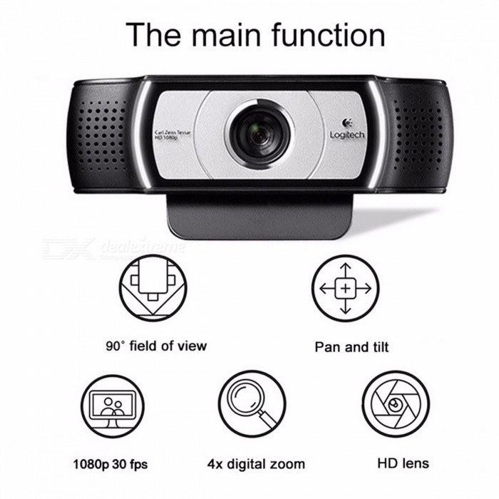 Logitech C930E 1920 x 1080 HD Webcam Garle Zeiss Lens Certification with 4Time Digital Zoom Support Official Verification for PC