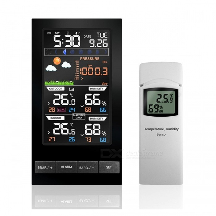Temperature Humidity Wireless Sensor Weather Station Colorful LCD Display With Barometer Weather Forecast Radio Control Time blackOther Measuring &amp; Analysing Instruments<br>Description<br><br><br><br><br>Style: Standing Station<br><br><br>Max Measuring Temperature: 49°C &amp;amp; Under<br><br><br><br><br>Display Size: 4.0 - 6.9 Inches<br><br><br>Theory: Temperature Sensor<br><br><br><br><br>Display Type: Digital<br><br><br>Brand Name: PROTMEX<br><br><br><br><br>Power Type: Other<br><br><br>Usage: Other<br><br><br><br><br><br><br><br><br><br><br><br>Radio&amp;nbsp;controlled&amp;nbsp;Clock&amp;nbsp;via&amp;nbsp;DCF&amp;nbsp;frequency&amp;nbsp;(Optional)<br><br><br>Time&amp;nbsp;in&amp;nbsp;optional&amp;nbsp;12/24&amp;nbsp;hour&amp;nbsp;format.<br><br><br>Date&amp;nbsp;and&amp;nbsp;weekday&amp;nbsp;display<br><br><br>Time alarm with snooze<br><br><br>Wireless outdoor and indoor humidity &amp;amp;&amp;nbsp;temperature &amp;nbsp;<br><br><br>Minimum/maximum&amp;nbsp;display&amp;nbsp;for&amp;nbsp;air&amp;nbsp;humidity&amp;nbsp;and&amp;nbsp;temperature<br><br><br>LED backlight&amp;nbsp;<br><br><br>Moon phase<br><br><br>Barometer: &amp;nbsp;display&amp;nbsp;to&amp;nbsp;show&amp;nbsp;the&amp;nbsp;air&amp;nbsp;pressure in hPa&amp;nbsp;<br><br><br>Six color forecast icons use changing atmospheric pressure to predict weather conditions for the next 12-hours .<br><br><br>Temperature&amp;nbsp;alternatively&amp;nbsp;in°C&amp;nbsp;or°F<br><br><br>Wireless Specifications <br><br><br><br>Size of the display (2.48*4.33 in) 110*63mm Product size:86mm*21.5mm*161mm (3.39*0.85*6.34)<br><br><br>Line of sight wireless transmission (in open air): 100meter ?328&amp;nbsp;ft? <br><br><br>Frequency: 868 MHz <br><br><br>Update Rate: 64 seconds<br><br><br><br>Measurement Specifications <br><br><br>The following table provides specifications for the measured parameters.<br><br><br>&amp;nbsp;<br><br><br><br><br><br><br>Measurement <br><br><br><br><br>Range <br><br><br><br><br>Accuracy <br><br><br><br><br>Resolution <br><br><br><br><br><br><br>Indoor Temperature<br><br><br><br><br>-9.9-60 °C<br><br><br><br><br>± 1 °C<br><br><br><br><br>0.1 °C<br><br><br><br><br><br><br>Outdoor Temperature<br><br><br><br><br>-40 to 60 °C<br><br><br><br><br>± 1 °C<br><br><br><br><br>0.1 °C<br><br><br><br><br><br><br>Indoor Humidity<br><br><br><br><br>1 0 to 99 %<br><br><br><br><br>± 5% (only guaranteed between 20 to 90%)<br><br><br><br><br>1 %<br><br><br><br><br><br><br>Outdoor Humidity<br><br><br><br><br>1 0 to 99%<br><br><br><br><br>± 5% (only guaranteed between 20 to 90%)<br><br><br><br><br>1 %<br><br><br><br><br><br><br>Barometric Pressure<br><br><br><br><br>300hpa to 1100hpa<br><br><br><br><br>±3 hpa(only guaranteed between 700 to 1100hpa)<br><br><br><br><br>0.1hpa<br><br><br><br><br><br><br>Power Consumption<br><br><br>&amp;nbsp;&amp;nbsp;&amp;nbsp;&amp;nbsp;&amp;nbsp;&amp;nbsp;&amp;nbsp;&amp;nbsp;&amp;nbsp;&amp;nbsp; 3 x AAA 1.5V Alkaline batteries (not included)<br><br><br><br>Base station : Power&amp;nbsp;Supply&amp;nbsp;6V DC adaptor EU Plug&amp;nbsp;&amp;nbsp;(included)<br><br><br>Remote sensor : 2 x AA 1.5V Alkaline batteries (not included)<br><br><br>Battery life:&amp;nbsp; Minimum 12 months for base station<br>Minimum 24 months for thermometer-hygrometer sensor (use lithium batteries in cold weather climat<br>