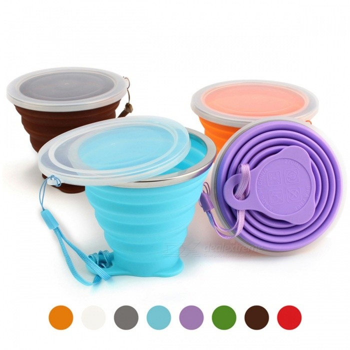 ME.FAM 270ml Stainless Steel Silicone Folding Cup with Lanyard / Dustproof Cover Lid, Outdoor Retractable Travel Coffee Cup