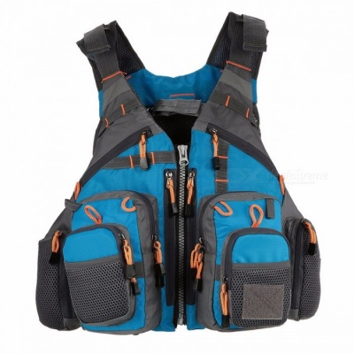 Men's Breathable Swimming Life Jacket, Outdoor Sport Fishing Life Survival Utility Vest, Safety Waistcoat  One Size/Blue