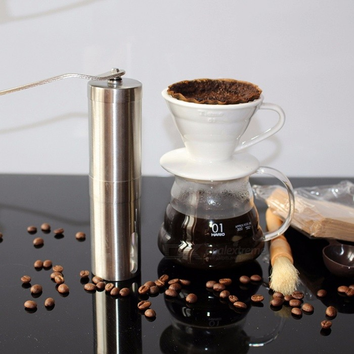 Mini Stainless Steel Hand Manual Handmade Coffee Bean Grinder Mill, Kitchen Grinding Coffee Making Tool
