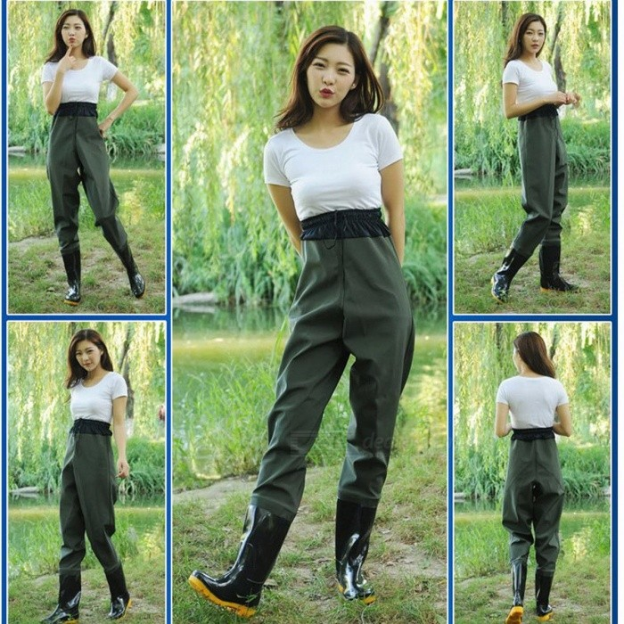 Elastic Waist Half Length Fishing Wader Pants Boot Waterproof Rubber Breathable Rain Boots Shoes Jumpsuit Trousers for Men Women