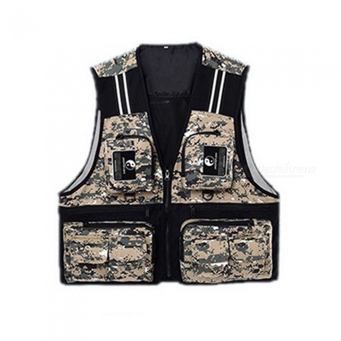 Outdoor Sport Mens Fishing Vest Multi Pocket V-neck Waterproof Breathable Director Photojournalist Clothes 4 Colors X/XL/XXL XXL/camouflageDescription <br><br><br><br><br>Feature: Waterproof <br><br><br>Material: Polyester <br><br><br><br><br><br><br><br><br>Material: Taslan <br><br><br>Color: red, blue, army green, camouflage <br><br><br>Size: L/XL/XXL <br><br><br>Season: 4 seasons <br><br><br>Features 1: waterproof <br><br><br>Features 2: anti-wear, anti-fade <br><br><br>Features 3: quality zipper <br><br><br>Suitable for: fishing, cycling, and other outdoor activities <br><br><br>Type: fishing vest <br><br><br>Package: 1 x fishing vest <br><br><br><br>Material: Taslan  <br><br><br>Color: red, blue, army green, camouflage, 4 colors as pic for choose<br> Size: L/XL/XXL 3 sizes for choose, pls refer to the size chart below <br><br><br><br><br><br>Size <br><br><br>Shoulder Width(cm) <br><br><br>Waist(cm) <br><br><br>Full Length(cm) <br><br><br><br><br>L <br><br><br>37 <br><br><br>54 <br><br><br>57 <br><br><br><br><br>XL <br><br><br>40 <br><br><br>57 <br><br><br>60 <br><br><br><br><br>XXL <br><br><br>43 <br><br><br>60 <br><br><br>63 <br><br><br><br><br><br>Ps: the datas are collected by human measurement, pls allows 1-3cm error, pls take actual items as standard.  <br><br><br>Season: 4 seasons <br><br><br>Features:  <br><br><br>1. waterproof, breathable fabric, comfortable and durable; <br><br><br>2. anti-wear, anti-fade; <br><br><br>3. multi pocket design, could hold lots of stuffs, serves for multi purpose; <br><br><br>4. reflective strip design, could provide safe outing at night; <br><br><br>5. quality zipper design, smooth and durable, easy to put on and off; <br><br><br>6. suitable for fishing, cycling, and other outdoor activities. <br><br><br>Package: 1 x fishing vest<br>