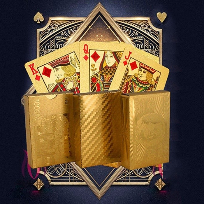 Luxury Durable Non Fade Gold Foil Poker Playing Cards Dollar EUR Plaid Pattern Set for Party Play Game
