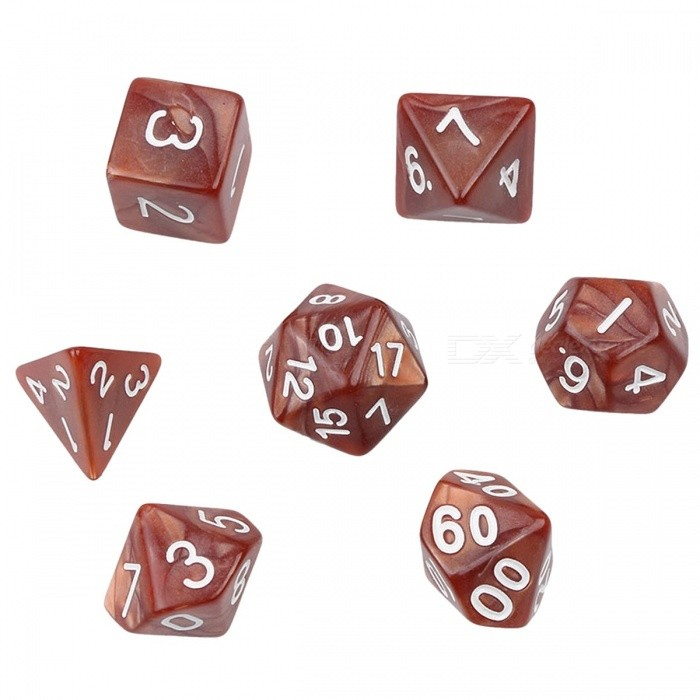 Multi-Sided Dice Set with Marble Effect d4 d6 d8 d10 d10 d12 d20 Digital Dice for Board / TRPG Game (7pc/set)