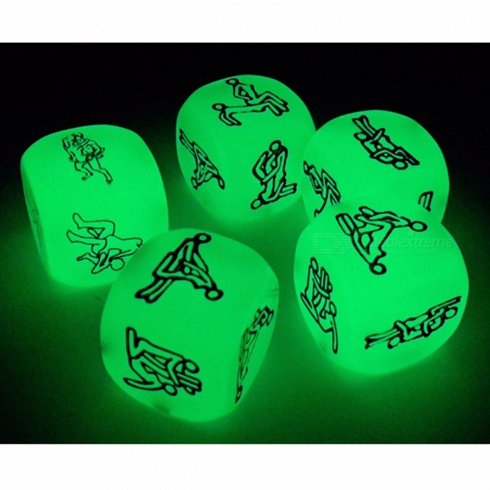Adult Erotic Sex Dice Glowing In The Dark,  Sexy Game Dice With Black Bag for Couple Gift (2 Piece per Pack)