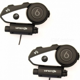 Vimoto English Version Easy Rider 2PCS V6 Multi-functional 2Way Radio BT Interphone Motorcycle Helmet Bluetooth Intercom Headset 2PCS-V6