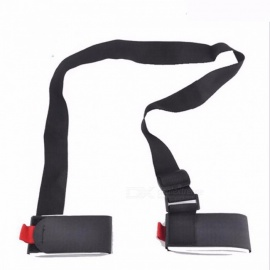 Skiing Snowboard Bag Carrier Hand Handle Straps Mountain Ski Belt Skiing Skiboard Snowboard Binding Protection Pole Tie Black