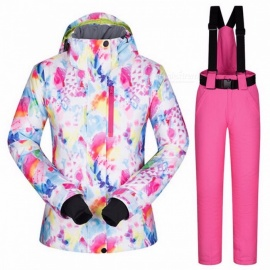 High Quality Women's Skiing Jacket and Pants Snowboard Set, Thickened Warm Waterproof Windproof Winter Female Ski Suit XL/HSJ AND BLACK