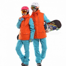 Waterproof snowboarding set couples windproof breathable ski suit women men snowboard jackets mountain skiing clothing set XXL/men black