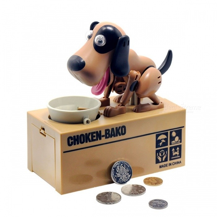 Robotic Dog Banco Canino Money Box Money Bank Automatic Stole Coin Piggy Bank Money Saving Box Moneybox Gifts for Kid Black with whiteLifestyle Gadgets<br>Description<br><br><br><br><br>Shape: Doll<br><br><br>Brand Name: only yesterday<br><br><br><br><br>Material: Plastic<br><br><br><br><br><br><br><br><br><br><br><br>Features: <br>100% brand new and high quality. <br>Help you save money <br>Put your coins in the plate, and it will go eat it <br>The Coin is not inculded <br>It can be a great gift for your friends, kids etc <br>Great idea for gift, home decoration, display on shelf. <br><br>Specifications: <br>Material :ABS + electronic components. <br>Color: White,Black,Brown,Black+White,Brown+Black,Brown+White <br>Power Source: 2* 1.5V AA Battery(Not included) <br>Size: 16x15x8cm <br>Net Weight: 450-500g<br>