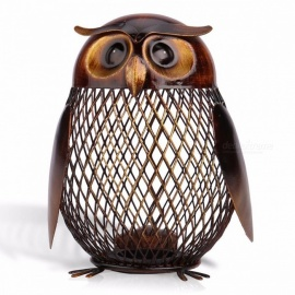 Tooarts Owl Shaped Money Box New Year Gift Metal Piggy Coin Bank Money Saving Box Home Decor Figurines Craft Gift For Kids Brown