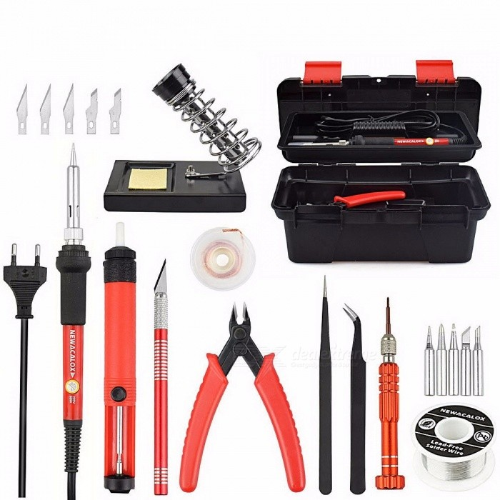 NEWACALOX Red EU 220V 60W Adjustable Temperature Electrical Soldering Iron Kit Welding Repair Tool Set with Tool Box 25pcs/lot blueSoldering Supplies<br>Description<br><br><br><br><br>Brand Name: newacalox<br><br><br><br><br><br><br><br><br><br><br><br><br>Introduction:<br><br><br>1.The<br> Soldering iron kit can meet all your soldering work needs with all <br>fitting included,making your soldering more easy and comfortable.<br><br><br>2.It<br> have a carry box,then it is rather convenient to store small tools and <br>easy to carry. The item is great for electric repair.<br><br><br>&amp;nbsp;<br><br><br><br>Features: <br><br><br>1. Using latest anti-static design,double-side board <br><br><br>2. Imported heating element with large power,rapid heating,you can de-soldering after in for 1 min. <br><br><br>3. Heating faster,thermostat circuit and high stabillity <br><br><br>4. Design with temperature adjustable range:200-450°c <br><br><br>5.The Soldering iron tip compatibility with 900M series. <br><br><br>6.<br> Energy-efficient,power consumption 70% lower than ordinary soldering <br>iron,which is more energy conservation and enviroment protection. <br><br><br>7. The handle with high temperature resistance sillicon tube,comfortable feel and high safety <br><br><br>8. Anti-twist on tail line to further improve safety. <br><br><br>&amp;nbsp;<br><br><br>Description: <br><br><br>1.Soldering<br> iron:Adjustable temperature controlled: 200-450 ° C (there is a knob <br>wheel on the Electronic Soldering Gun for temperature adjust),there are 5<br> pcs of different specifications of the soldering Iron tip. <br><br><br>2.Suction tin pump and Suction wire:Quick and easy solder residue clearance. <br><br><br>3.Pliers:blade<br> by-pass cutting method, which reduces effort and extends tool life as <br>the cutting blades do not meet edge to edge. <br><br><br>4.Screwdriver set:4 in 1&amp;nbsp;precision screwdriver&amp;nbsp;&amp;nbsp;to meet your different needs. <br><br><br>5.Soldering iron gun stand:Convenient to hold your soldering iron,compatible with most pencil type soldering irons. <br><br><br>6.Welding Iron Wire:1mm&amp;nbsp;width ,with a low melting point, usually used in iron soldering with bright and full soldering points. <br><br><br>7.Engraving knife:it is ideal for versatile situation,PCB circuit board,Mobile phone film,soft wood,sculpture,paper and so on. <br><br><br>&amp;nbsp;<br><br><br><br>Note: <br><br><br>1.When<br> the soldering iron is plugged in for the first time, there comes out a <br>smoke from the&amp;nbsp; tip end. The smoke stops in a smoke while and a smoke <br>never comes out again. <br><br><br>2.After finish the longer life tip face. <br><br><br>3.Use soldering stand and other aids to avoid burnt fingers.&amp;nbsp; <br><br><br>4.Dont pull the soldering iron tip outward and use it in that way, which will shorten the&amp;nbsp; <br><br><br>heating element life.&amp;nbsp; <br><br><br>5.Dont file the long life tip face and Dont apply too much solder unnecessarily <br><br><br>&amp;nbsp;<br><br><br>Package included: <br><br><br>1 pcs Pliers <br><br><br>1 pcs Soldering Iron(EU 220V 60W) <br><br><br>1 pcs&amp;nbsp;Suction Tin Pump <br><br><br>1 pcs&amp;nbsp;Suction Tin Wire <br><br><br>1 pcs Screwdriver Set(Contain 4 Spare Screwdriver Head) <br><br><br>1 pcs Soldering Iron Gun Stand&amp;nbsp;(with clean sponge) <br><br><br>1 pcs&amp;nbsp;Welding Iron Wire <br><br><br>5 pcs&amp;nbsp;Soldering&amp;nbsp;Iron Tip(I K B 3C 1.6D) <br><br><br>6 pcs&amp;nbsp;Engraving Knives(Handle and Blades) <br><br><br>2 pcs Tweezers (fine tip curved,fine tip straight)&amp;nbsp; <br><br><br>1 pcs Tool Box <br><br><br>(Total 25pcs/lot)<br>