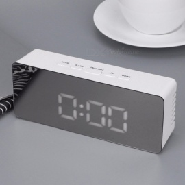 Multifunction LED Alarm Clock Digital Electronic LED Mirror Clock Temperature Snooze Large Display Home Decor Mirror Function Mirror Clock