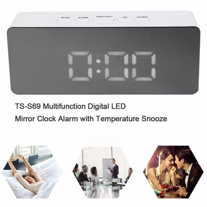 Multifunction LED Alarm Clock Digital Electronic LED Mirror Clock Temperature Snooze Large Display Home Decor Mirror Function