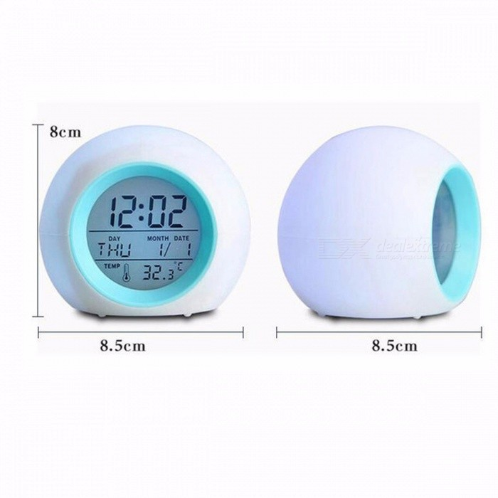 M.Sparkling Multi-Function Desk Clock Colorful Alarm Clock Round Shaped for Home Living Room Clocks Bedroom Decorate