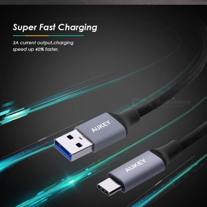 AUKEY USB 3.0 TYPE-C Cable For Samsung S8 Fast Charging Cable For Huawei Xiaomi Mi5 Mi6 TYPE C Cable USB C Charger Cable 1m 2m
